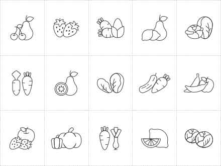 Fruit and Vegetable Vector Icons