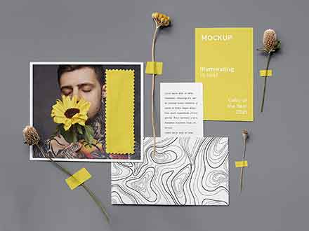 Illuminating Gray Card Branding Mockup