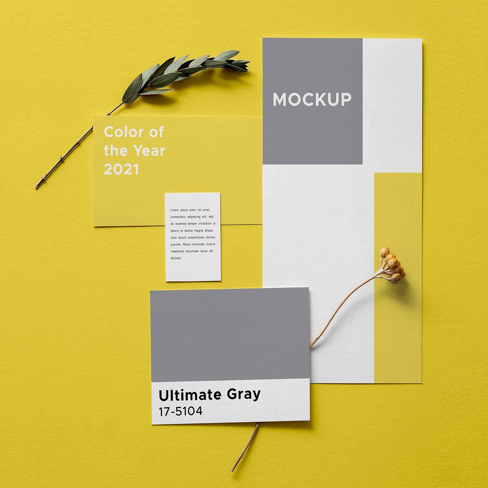 Illuminating Gray Card Branding Mockup 2