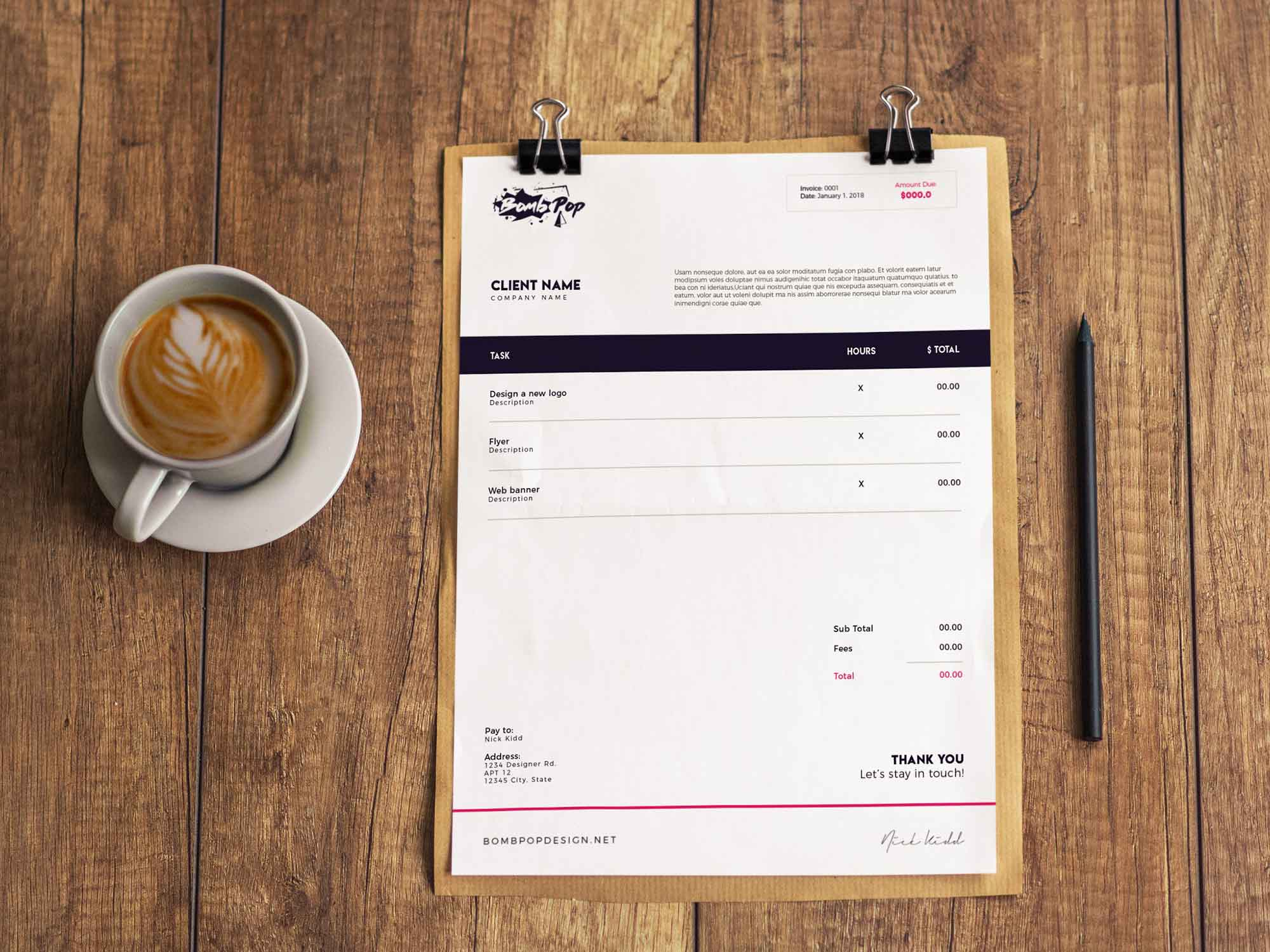 Indesign Invoice Template 2
