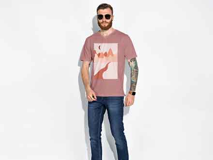 Male T-Shirt Fashion Mockup