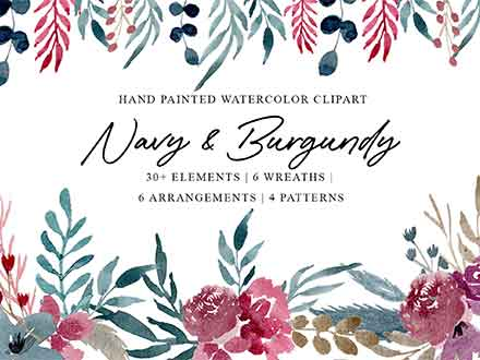 Navy & Burgundy Watercolor Graphics