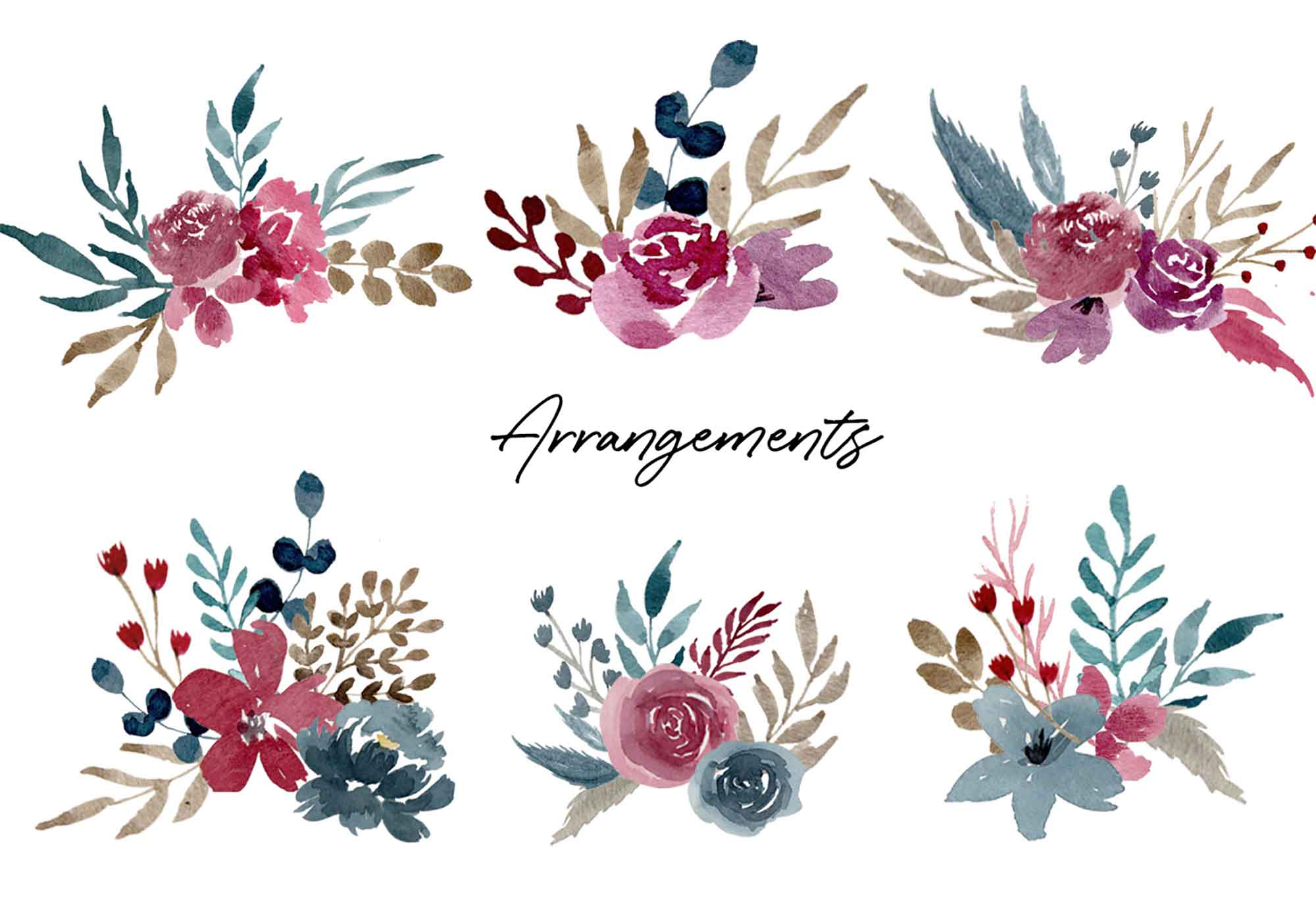 Navy & Burgundy Watercolor Graphics 4