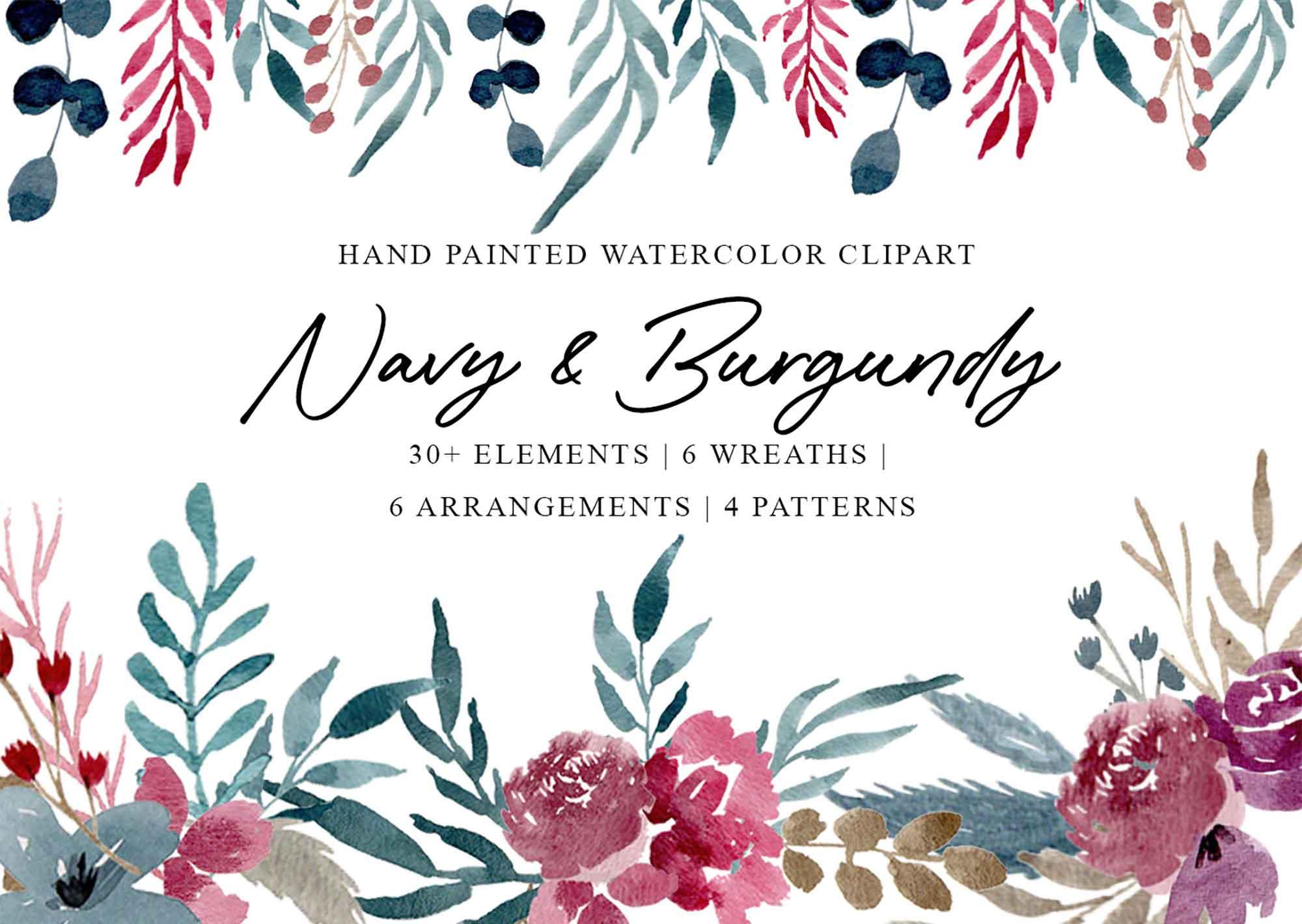 Navy & Burgundy Watercolor Graphics