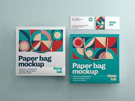 Paper Bag & Business Card Branding Mockup