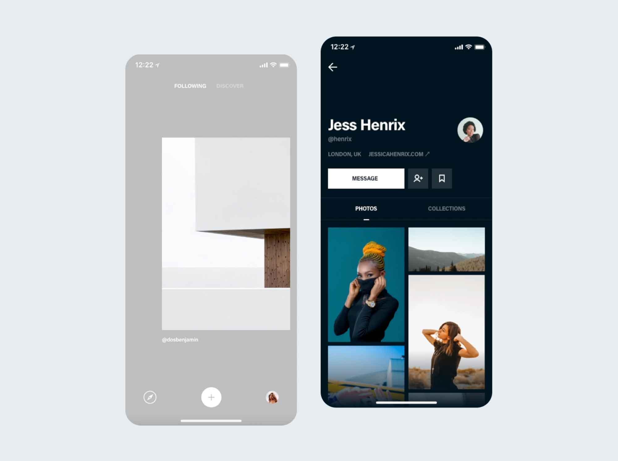 Photos & Profile App Screen UI Template 2
