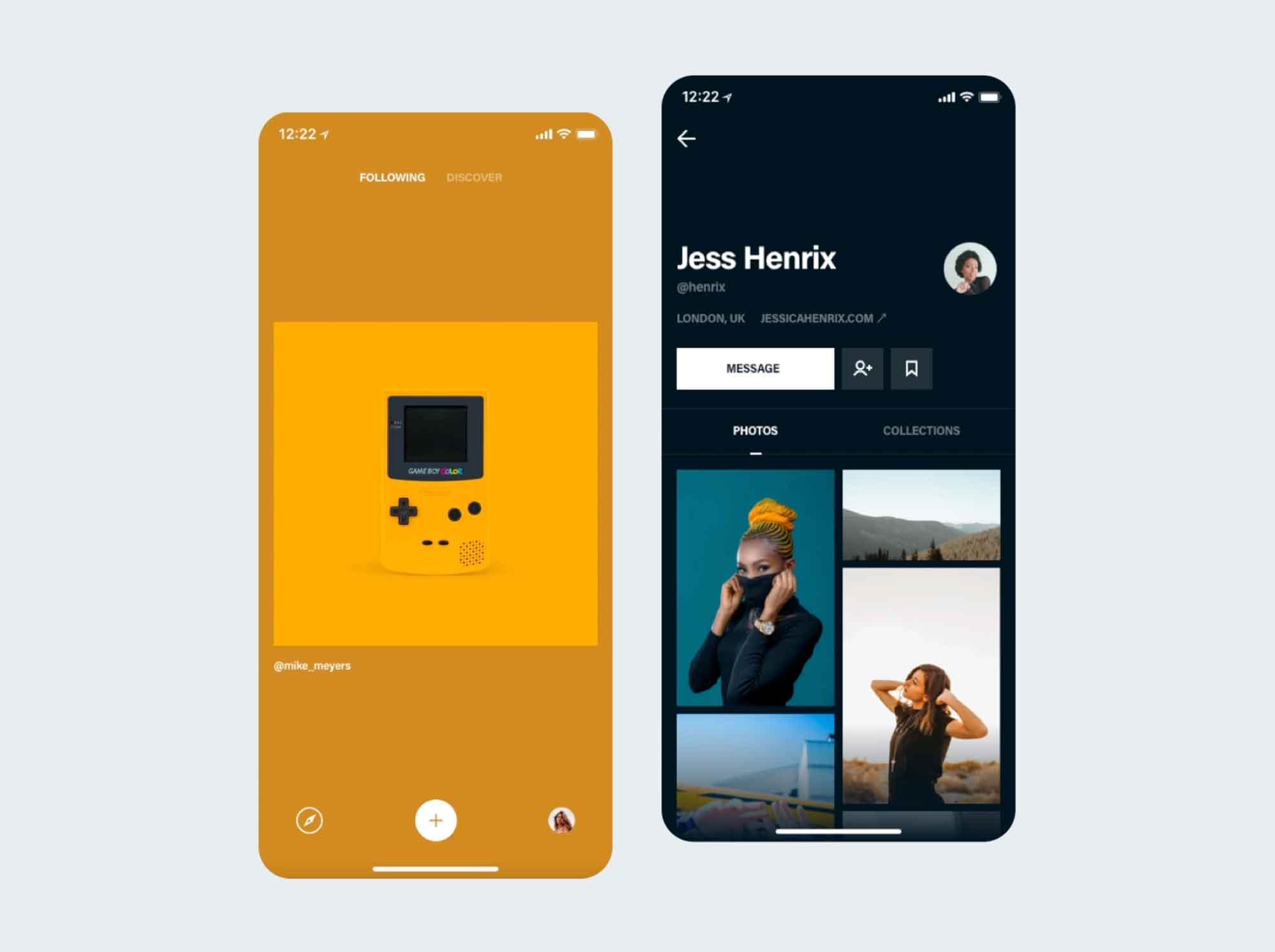Photos & Profile App Screen UI Template 3