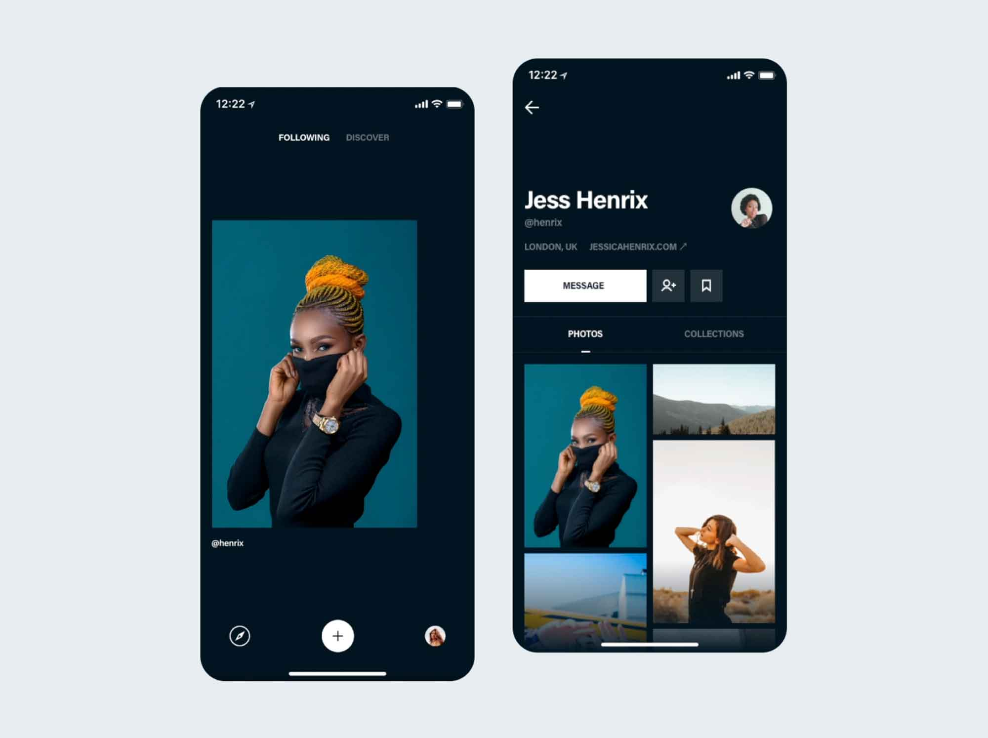 Photos & Profile App Screen UI Template