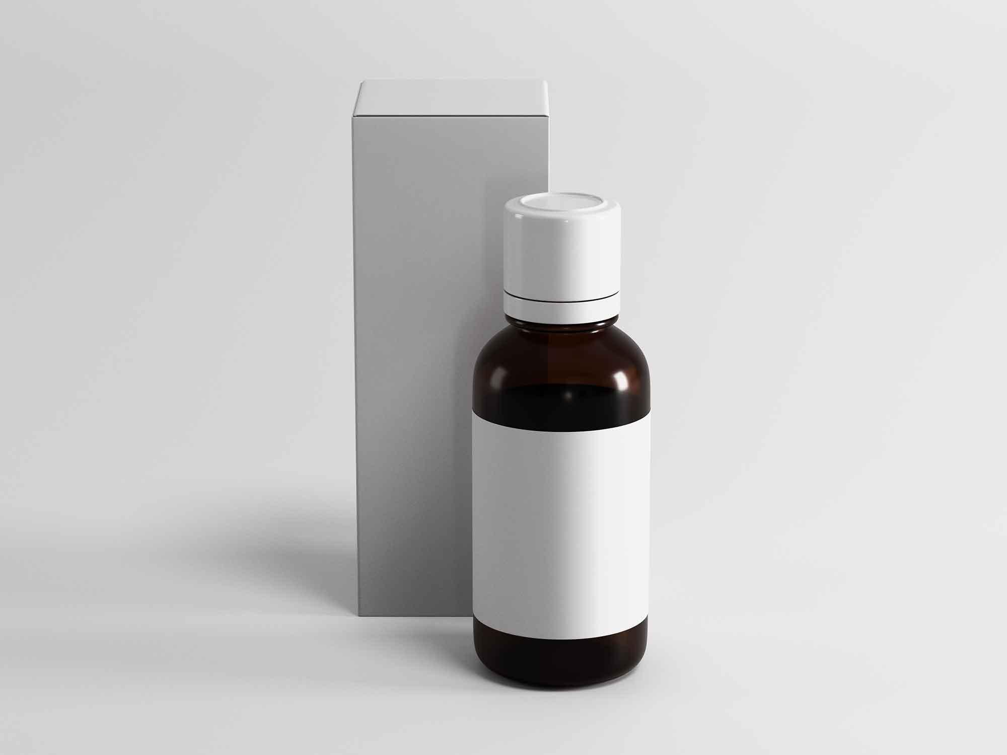 Medicine Bottle and Box Packaging Mockup 2