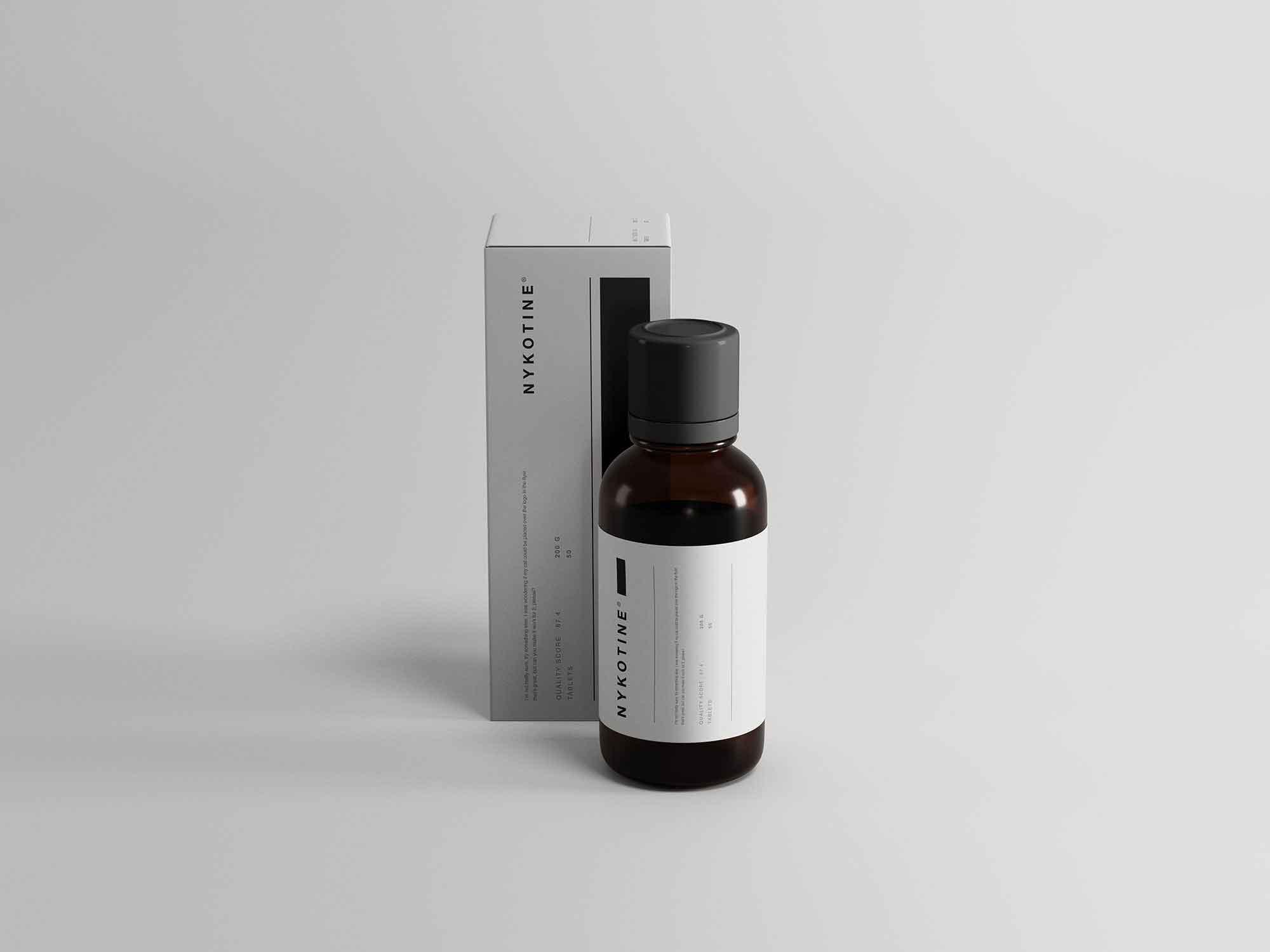 Medicine Bottle and Box Packaging Mockup