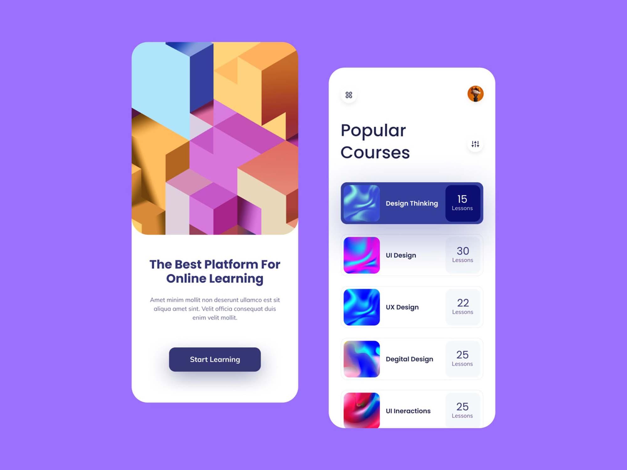 Online Learning Mobile App Template