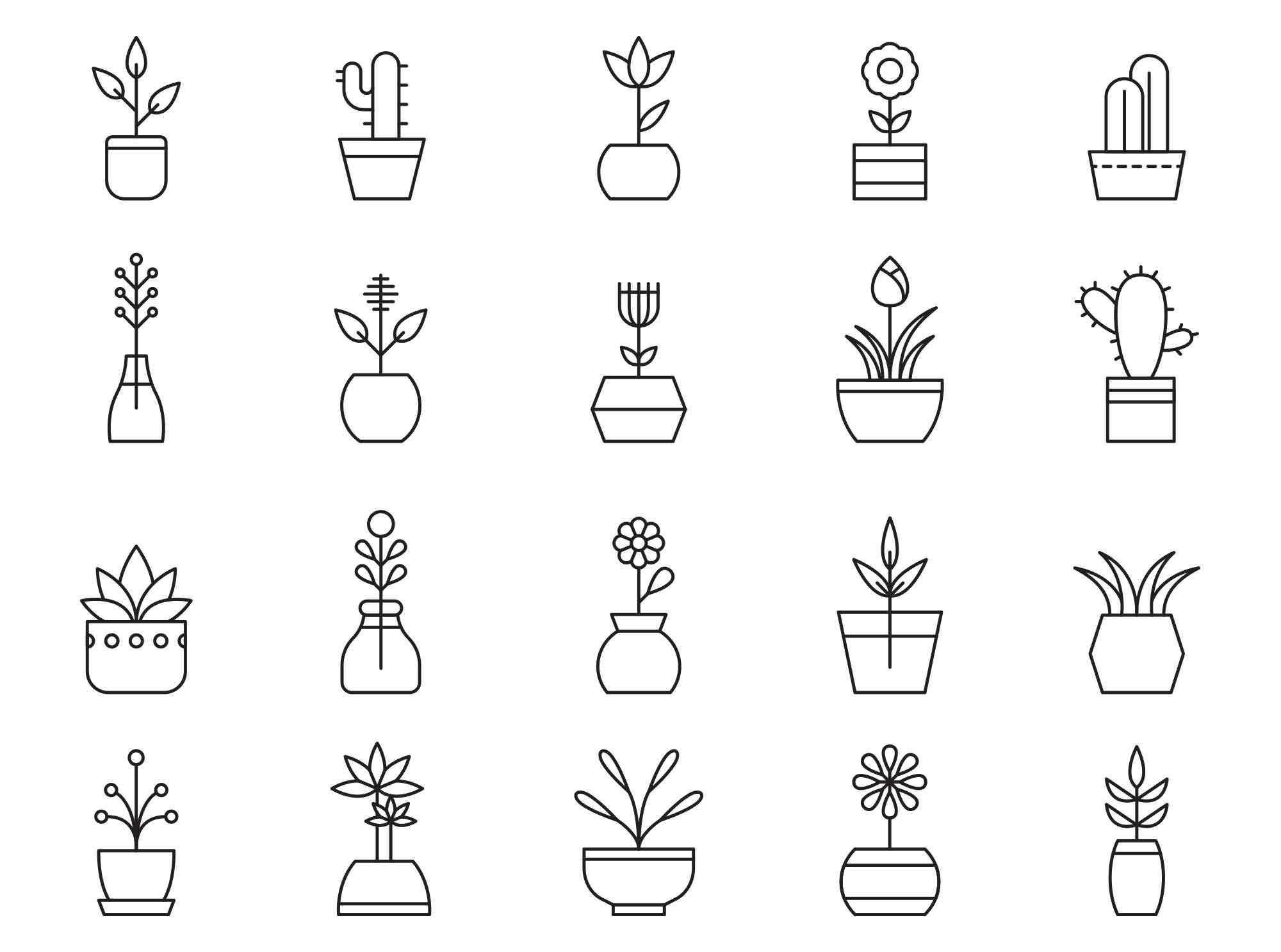 Potted Plants Vector Icons