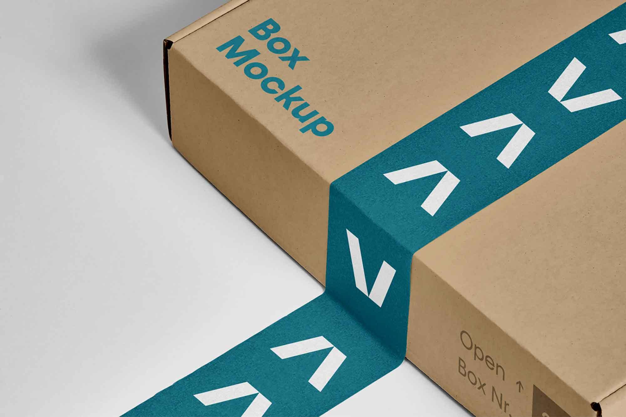 Box with Tape Mockup