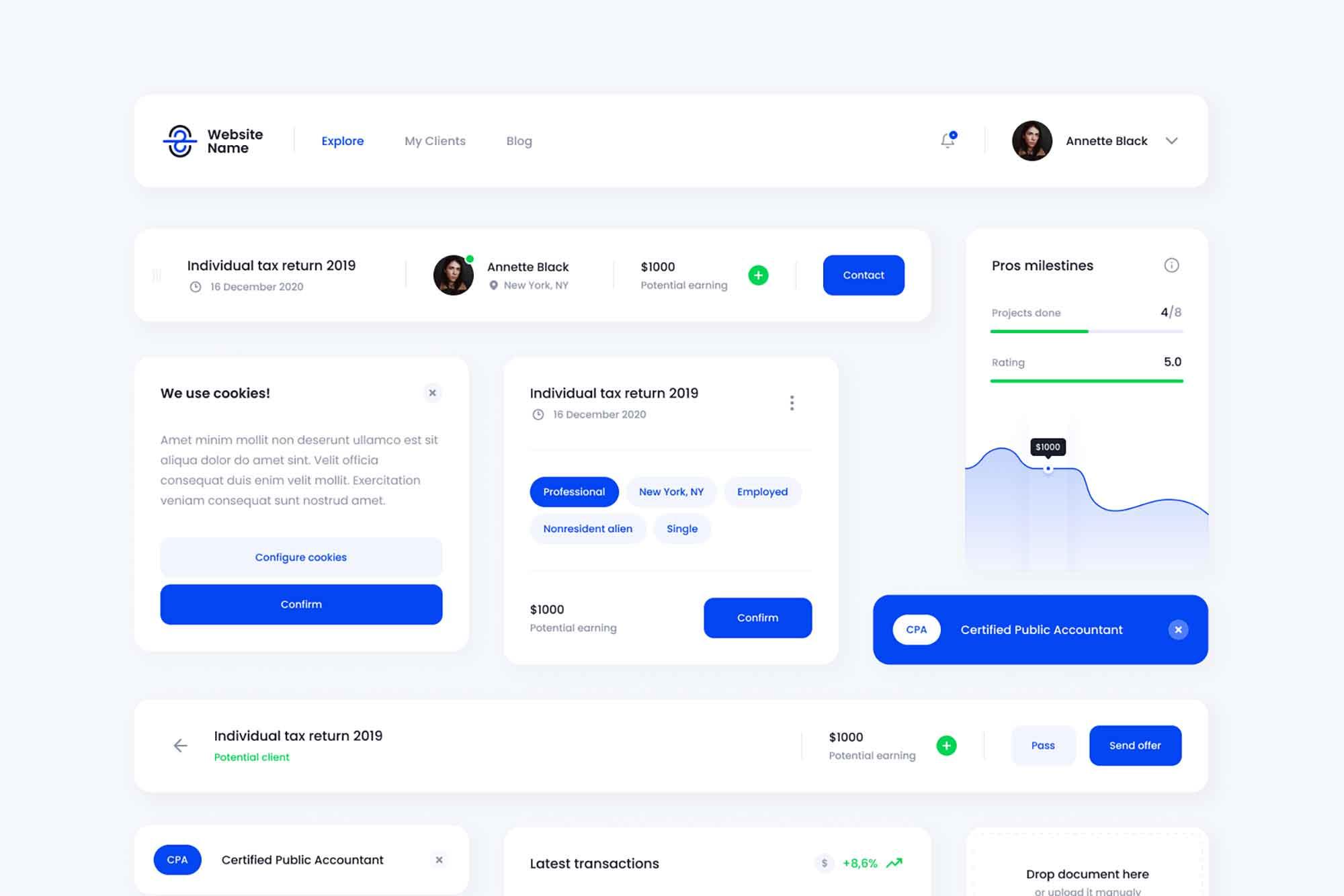 Platform Design Card UI Template