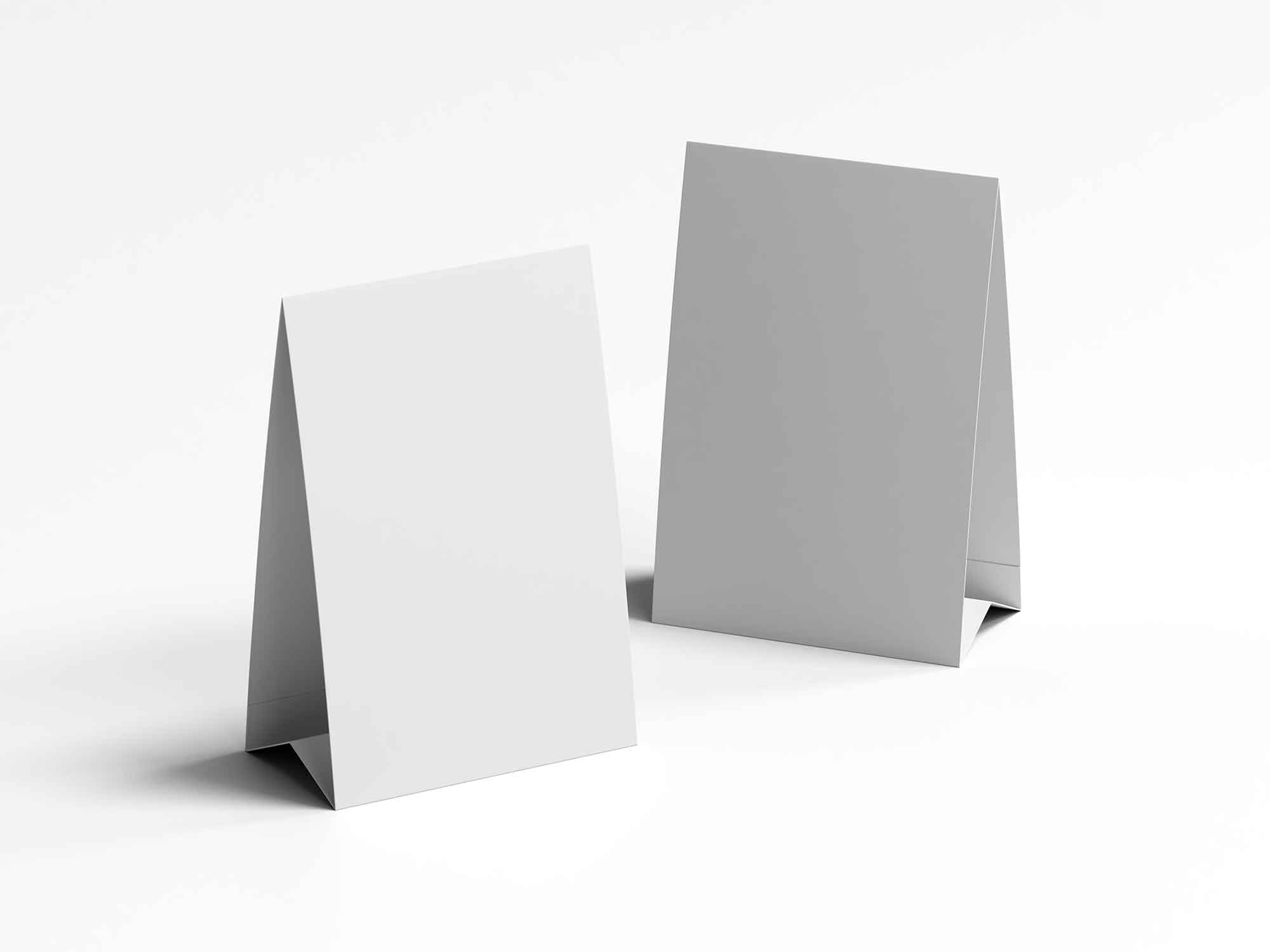 Twin Vertical Table Tents Mockup 2