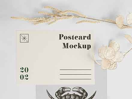 A5 Postcard with Envelope Mockup