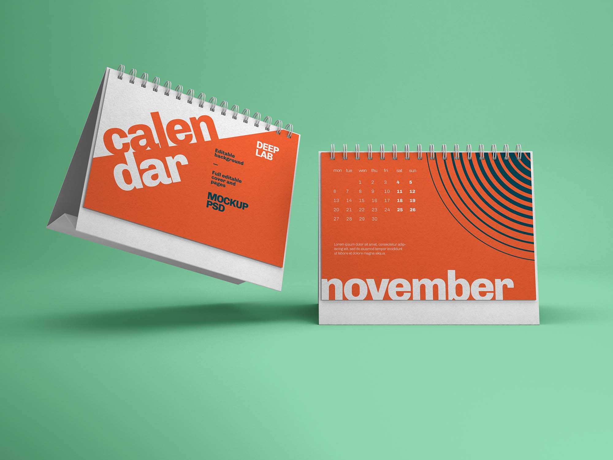 Horizontal Desk Calendar Mockup 1