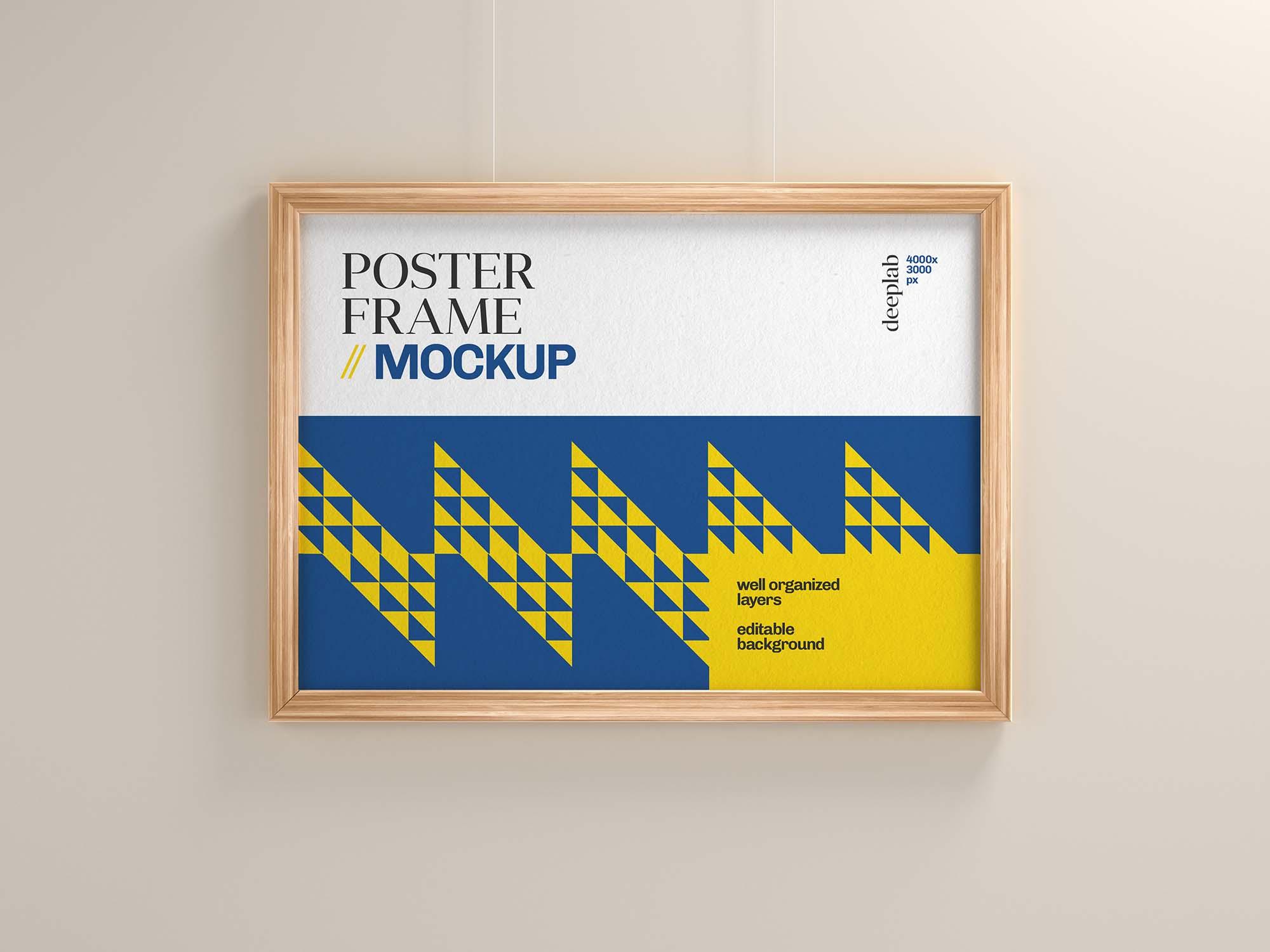 Realistic Wood Frame Poster Mockup 1