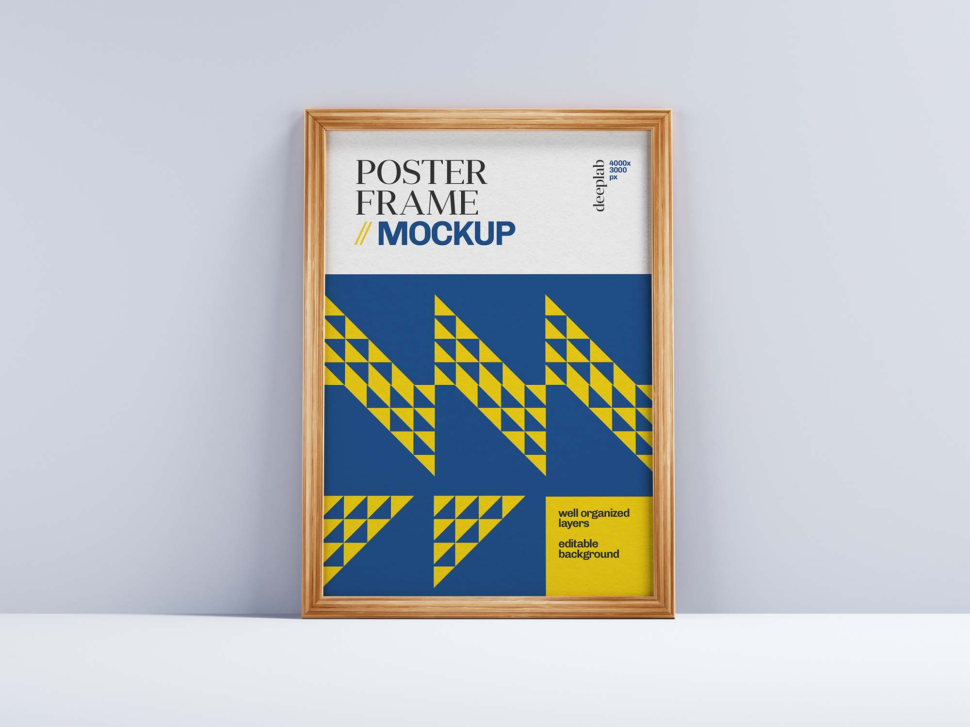 Realistic Wood Frame Poster Mockup 2