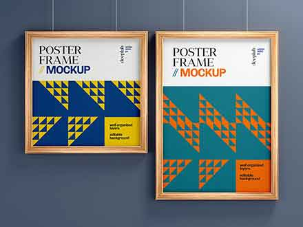 Realistic Wood Frame Poster Mockup