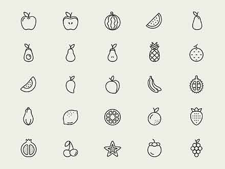 Line Fruit Icons