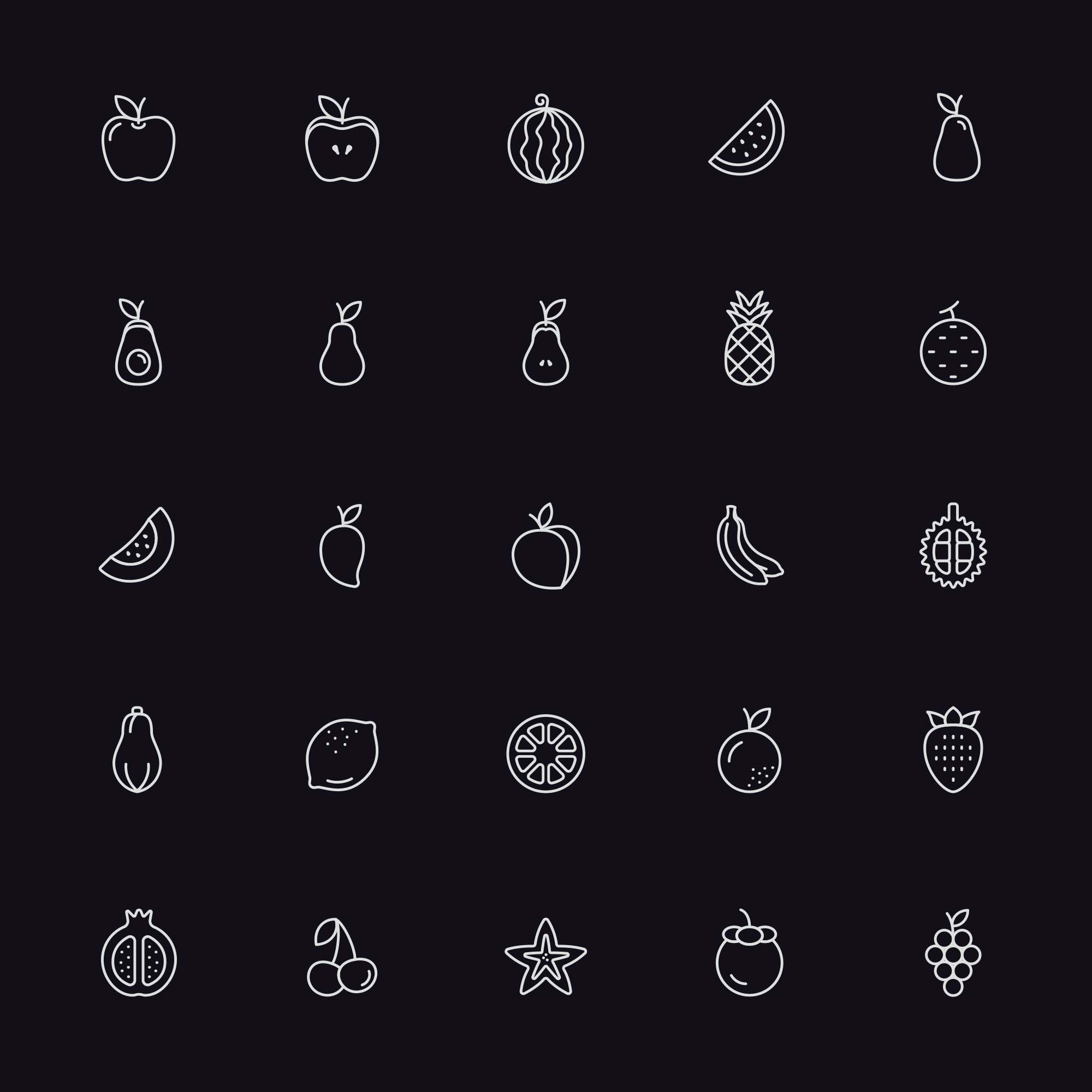 Line Fruit Icons 2