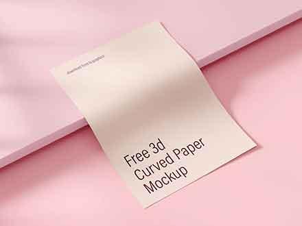 3D Curved Paper Mockup