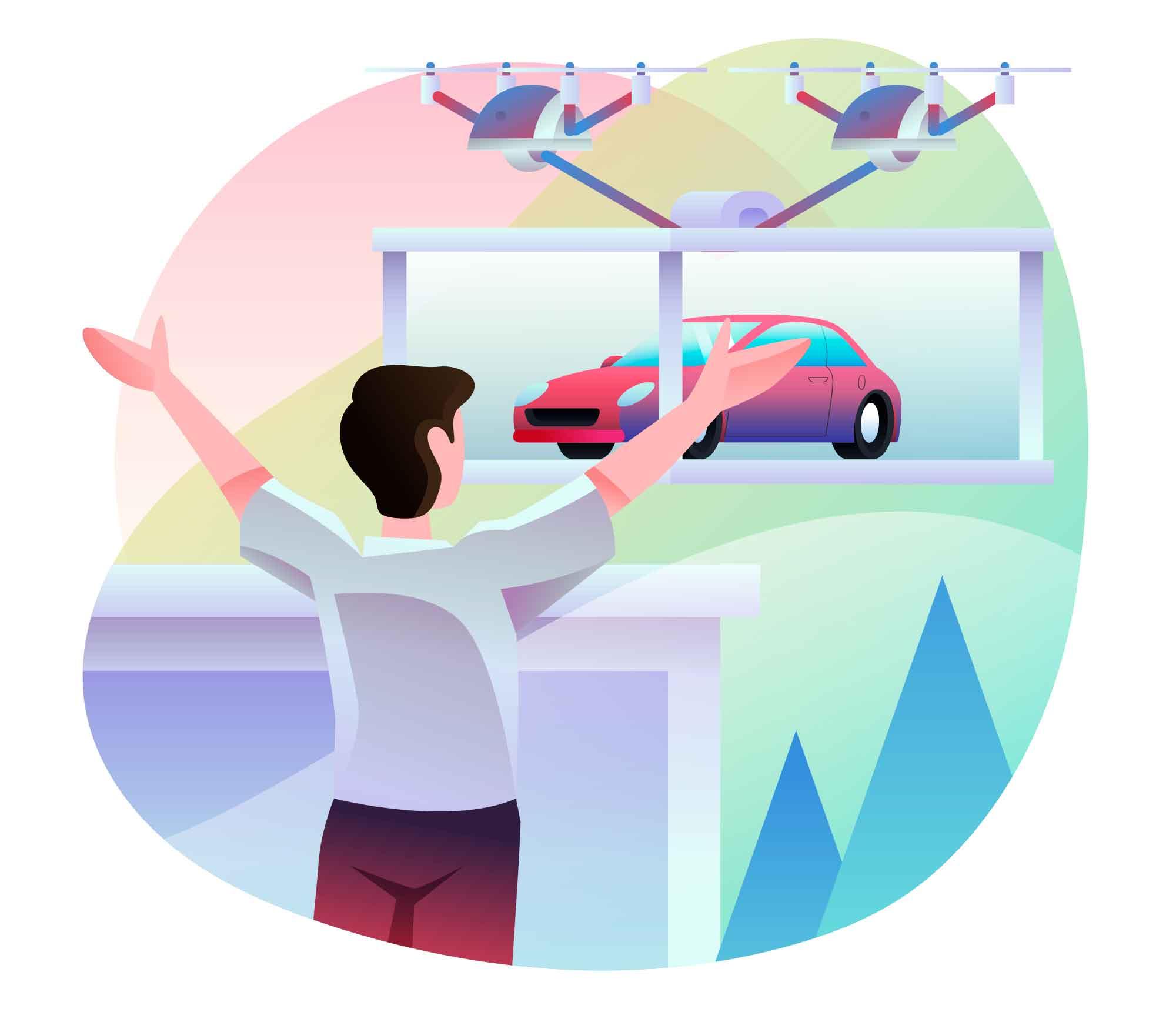 Car Delivered by Drone Illustration