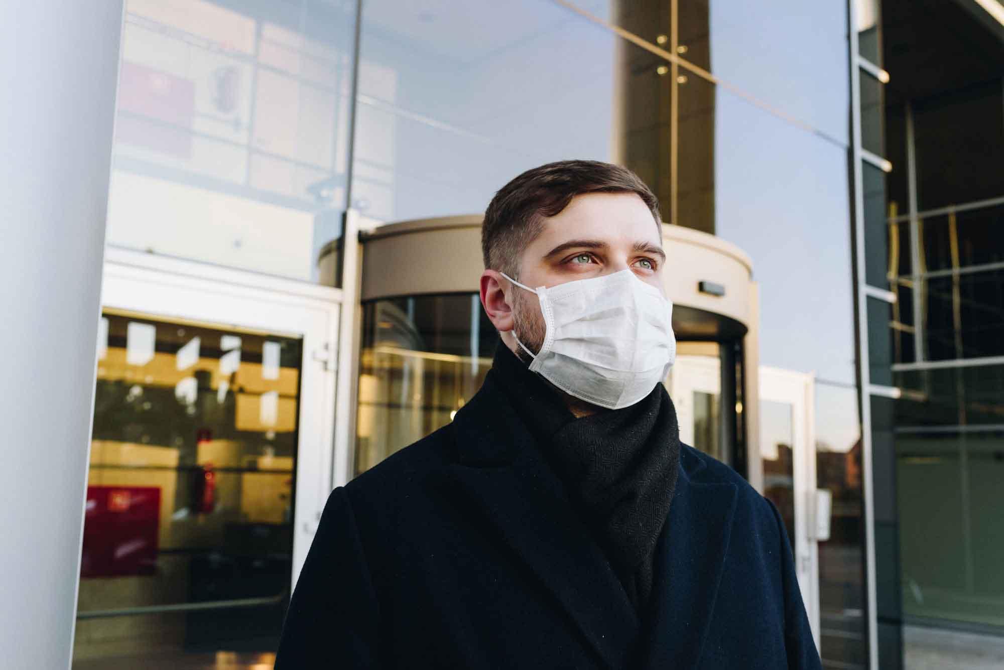 Man Wearing a Face Mask Mockup 2
