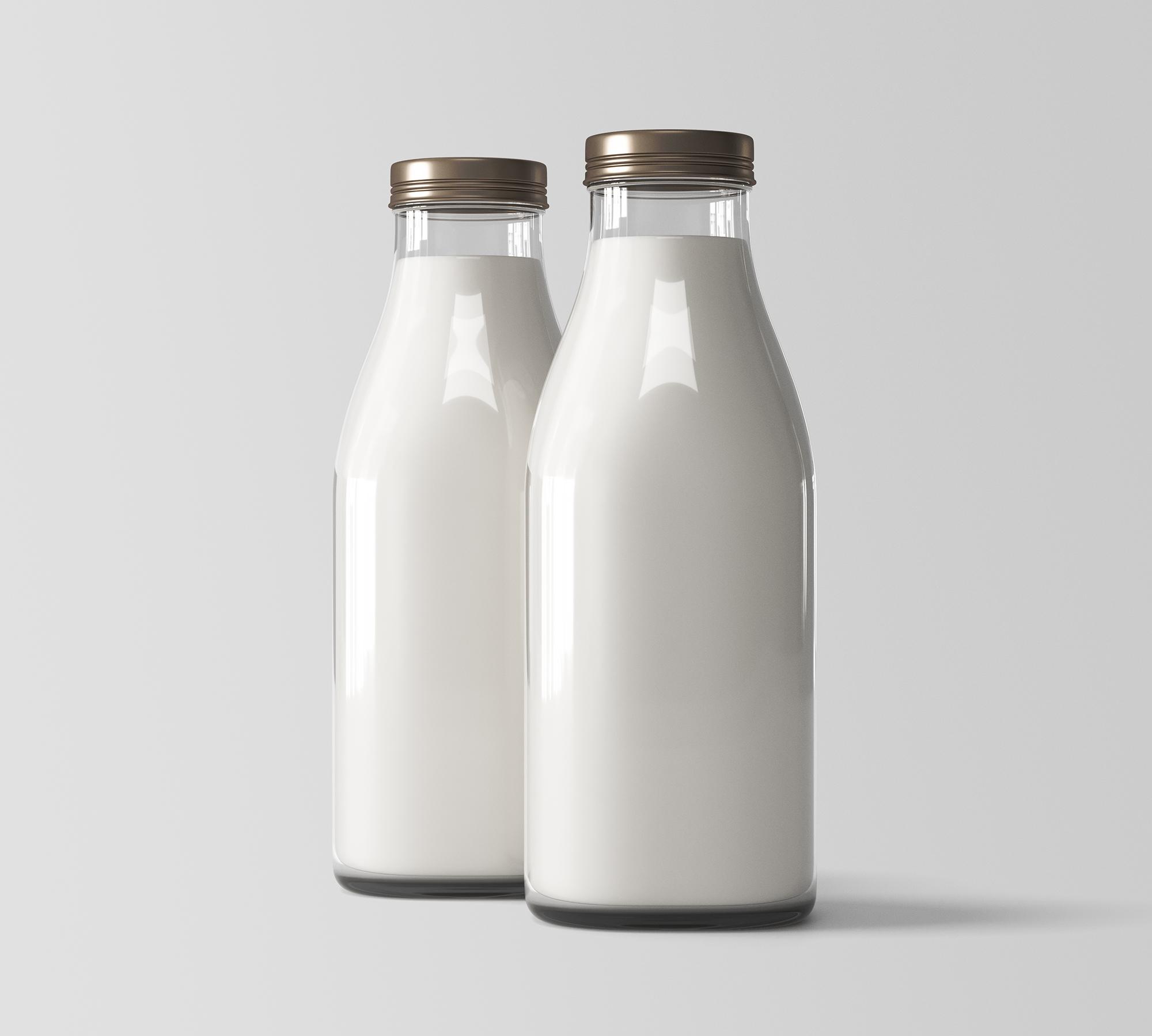 Two Milk Bottles Mockup 2
