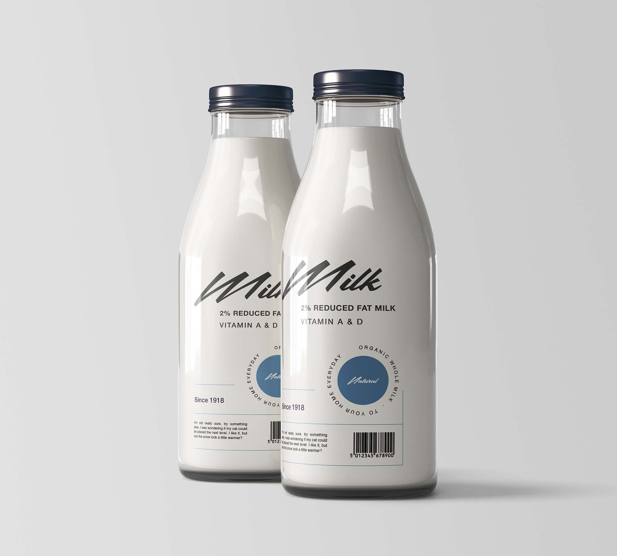 Two Milk Bottles Mockup