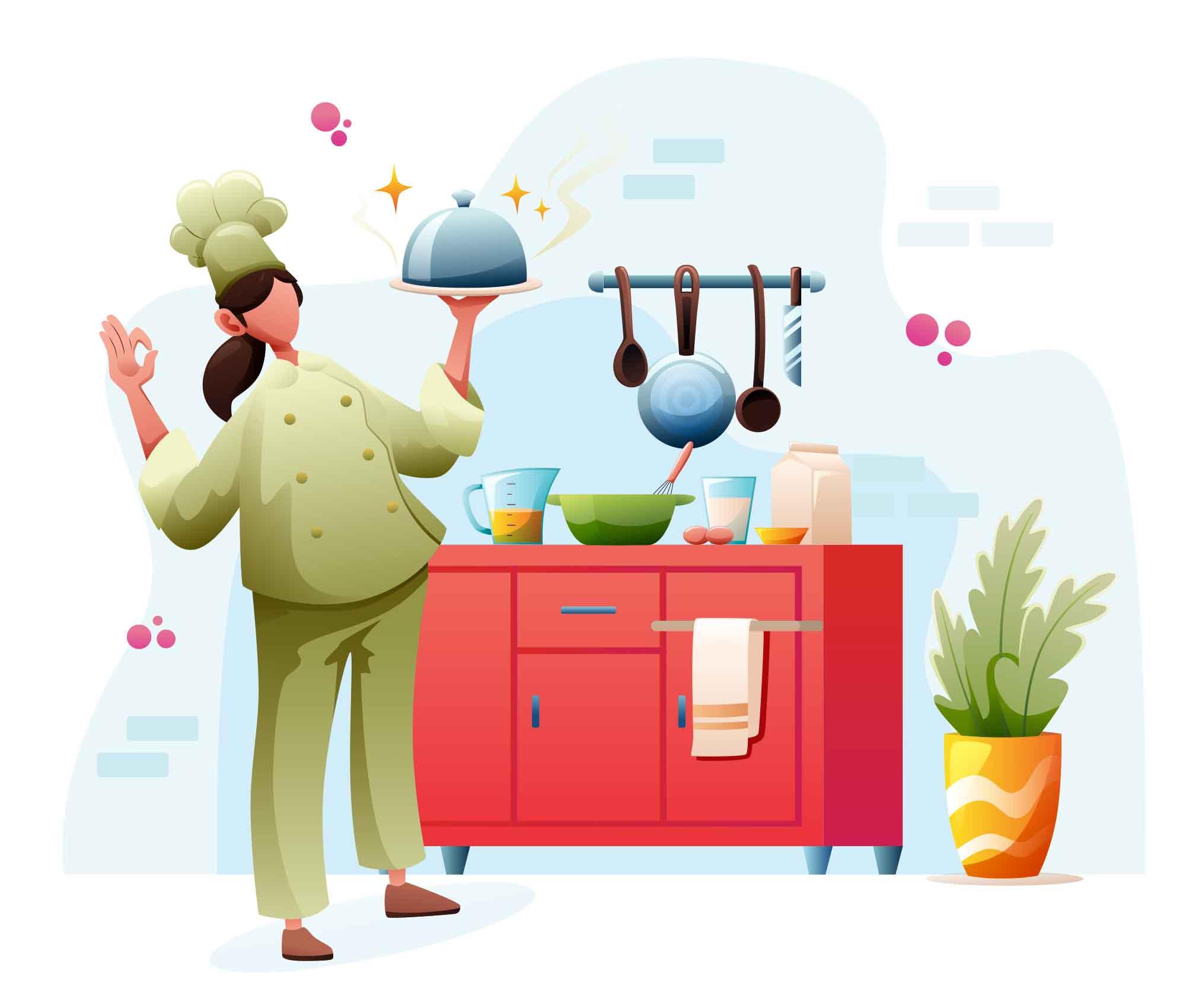 Woman Chef in Kitchen Illustration