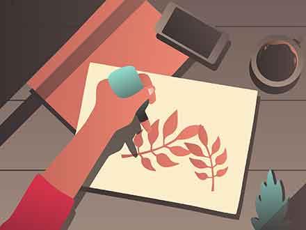Artist Desk Vector Illustration