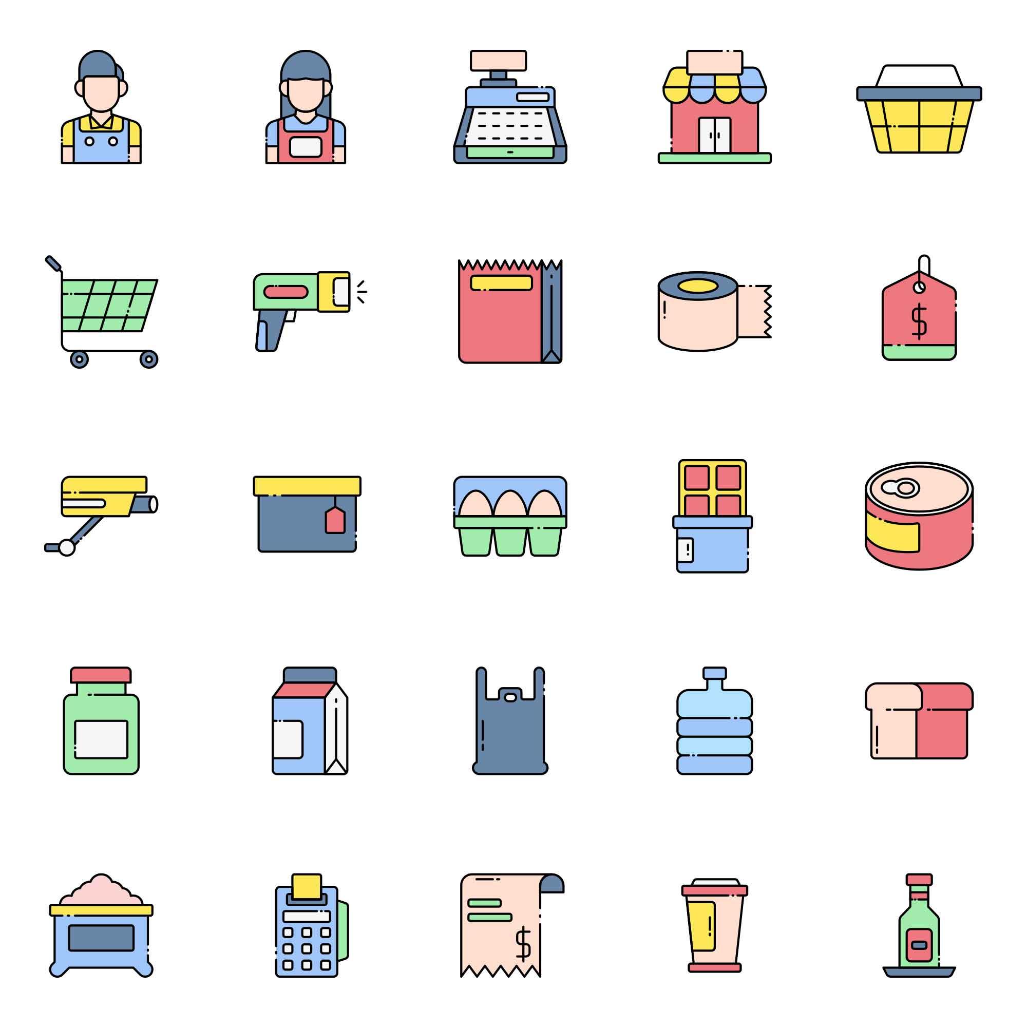 Cashier Vector Icons