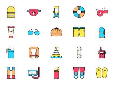 Coast Guard Vector Icons