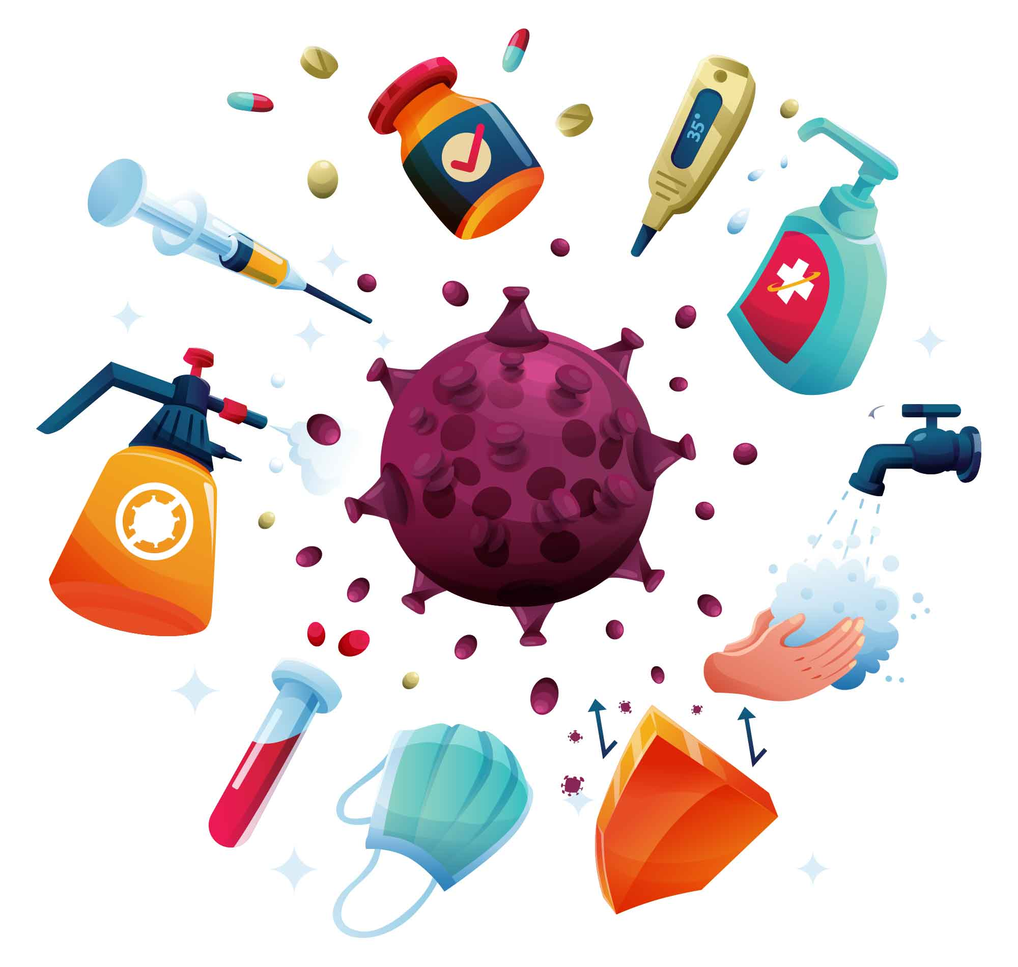 Coronavirus Sanitizing & Vaccination Illustration