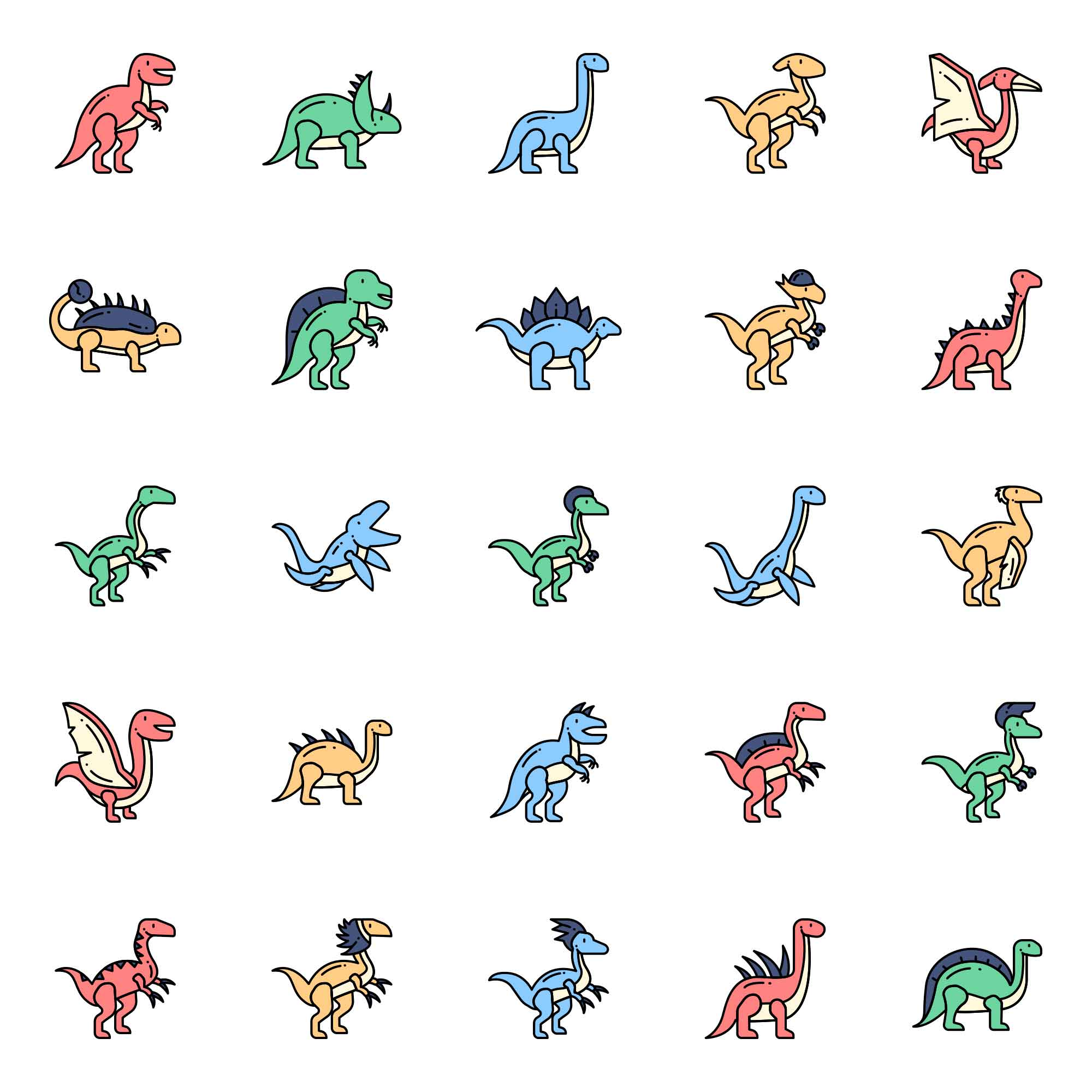 Dinosaurs Vector Icons