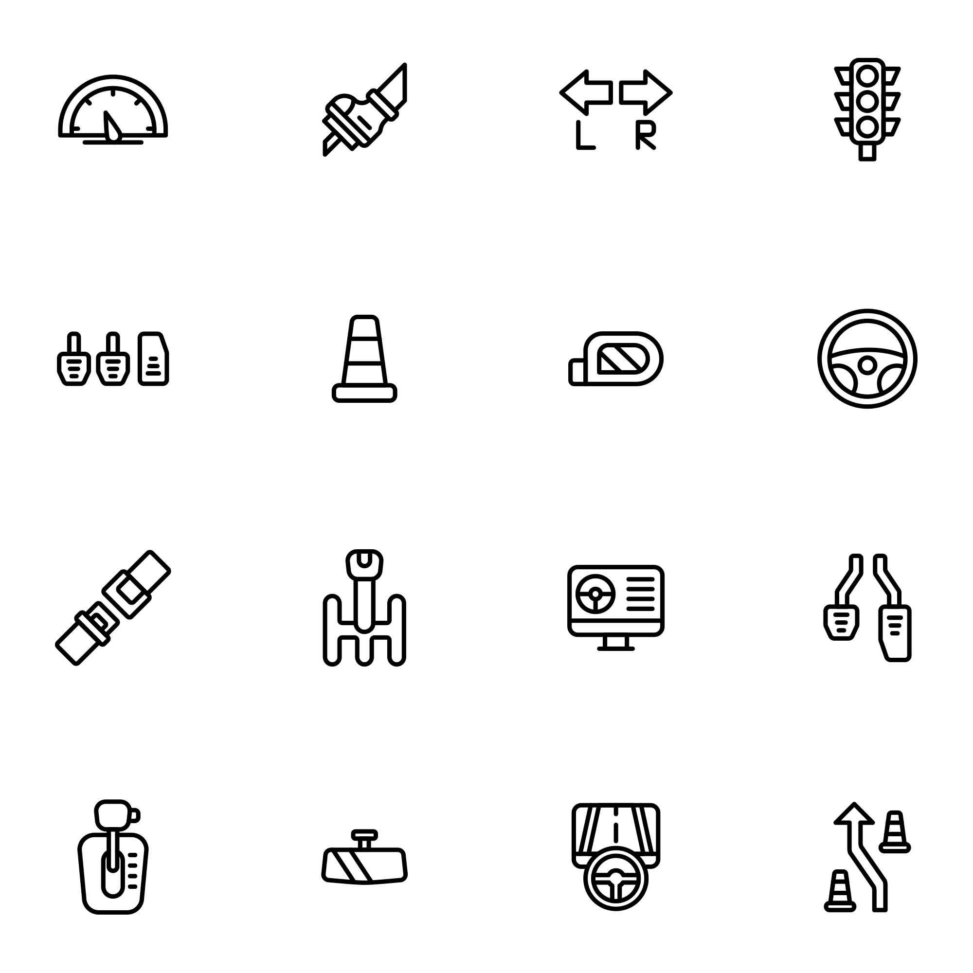 Driving School Vector Icons