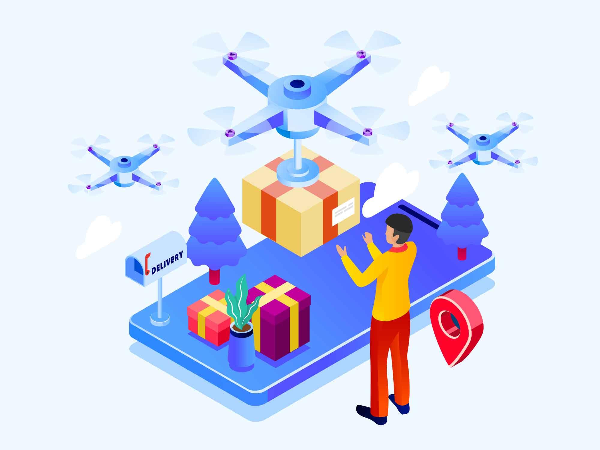Drone Shipping Illustration Light Version