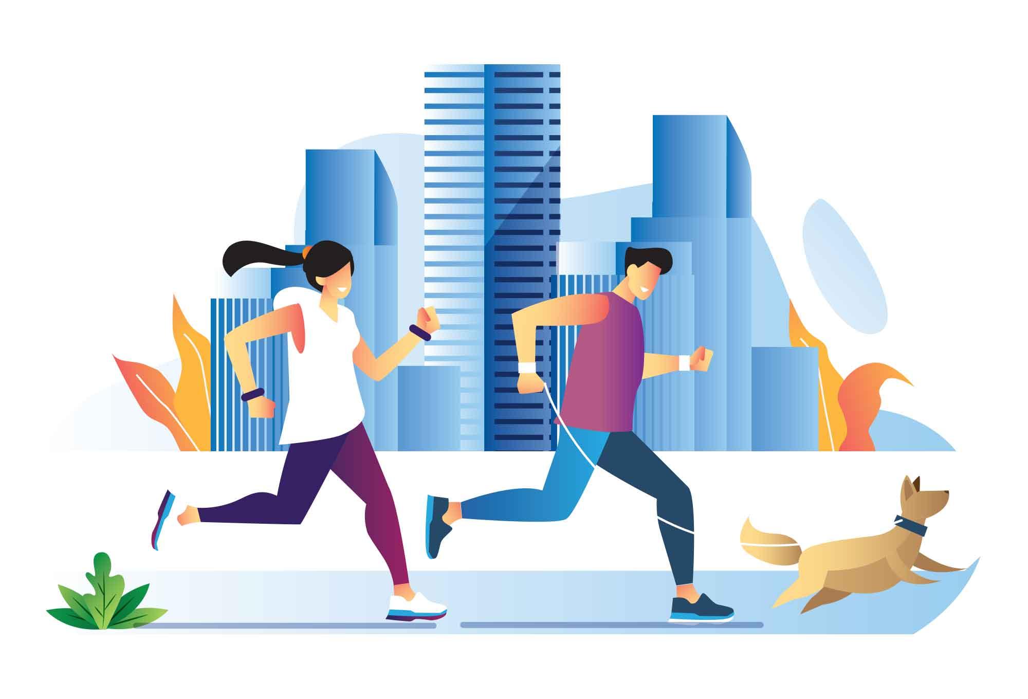Jogging with a Dog Illustration