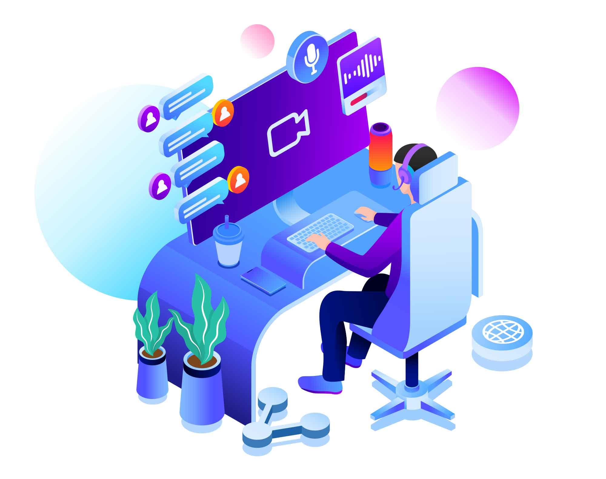 Online Chat Support Illustration