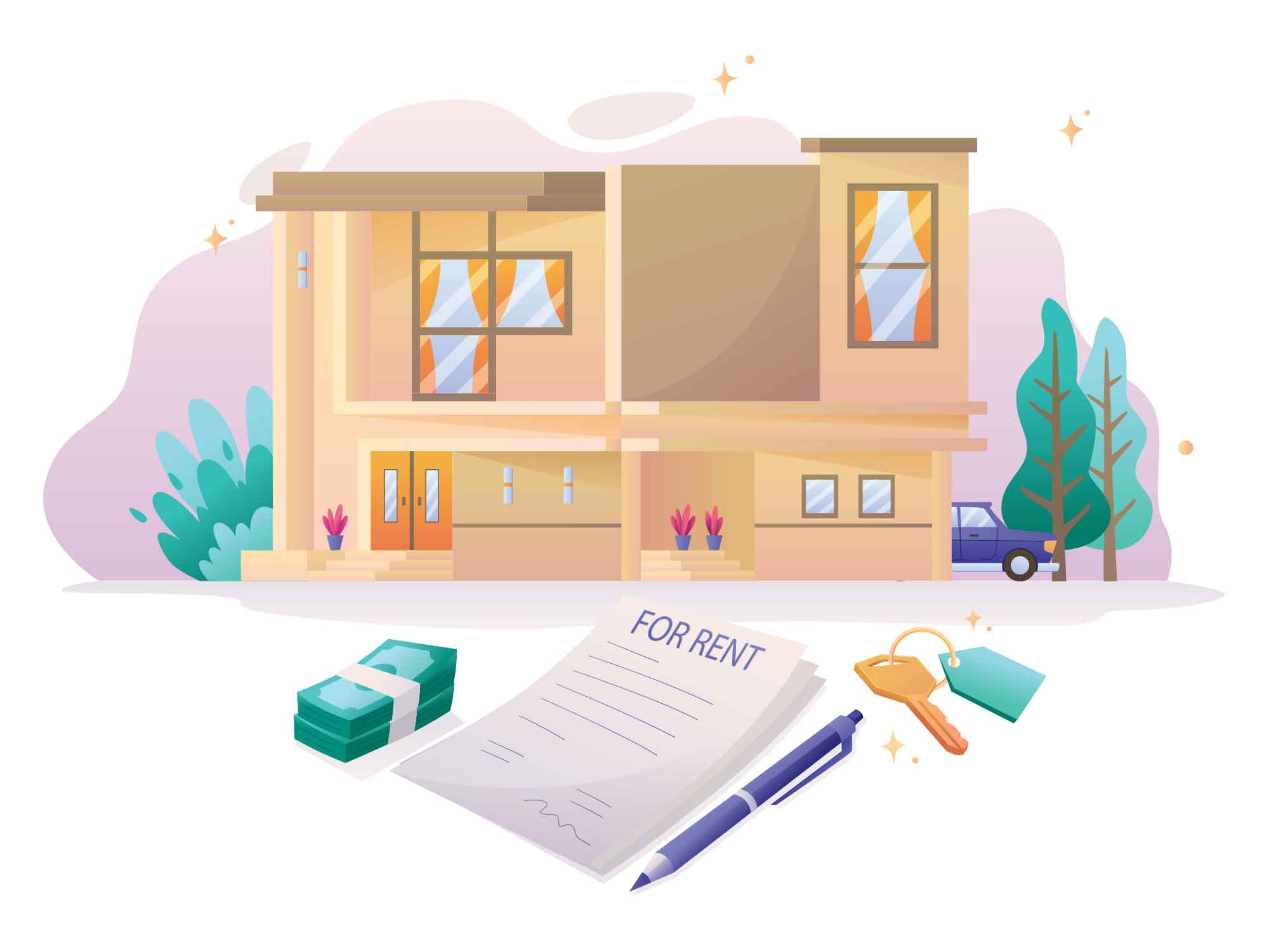 Real Estate Rent Contract Illustration