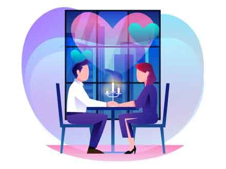 Romantic Dinner Vector Illustration