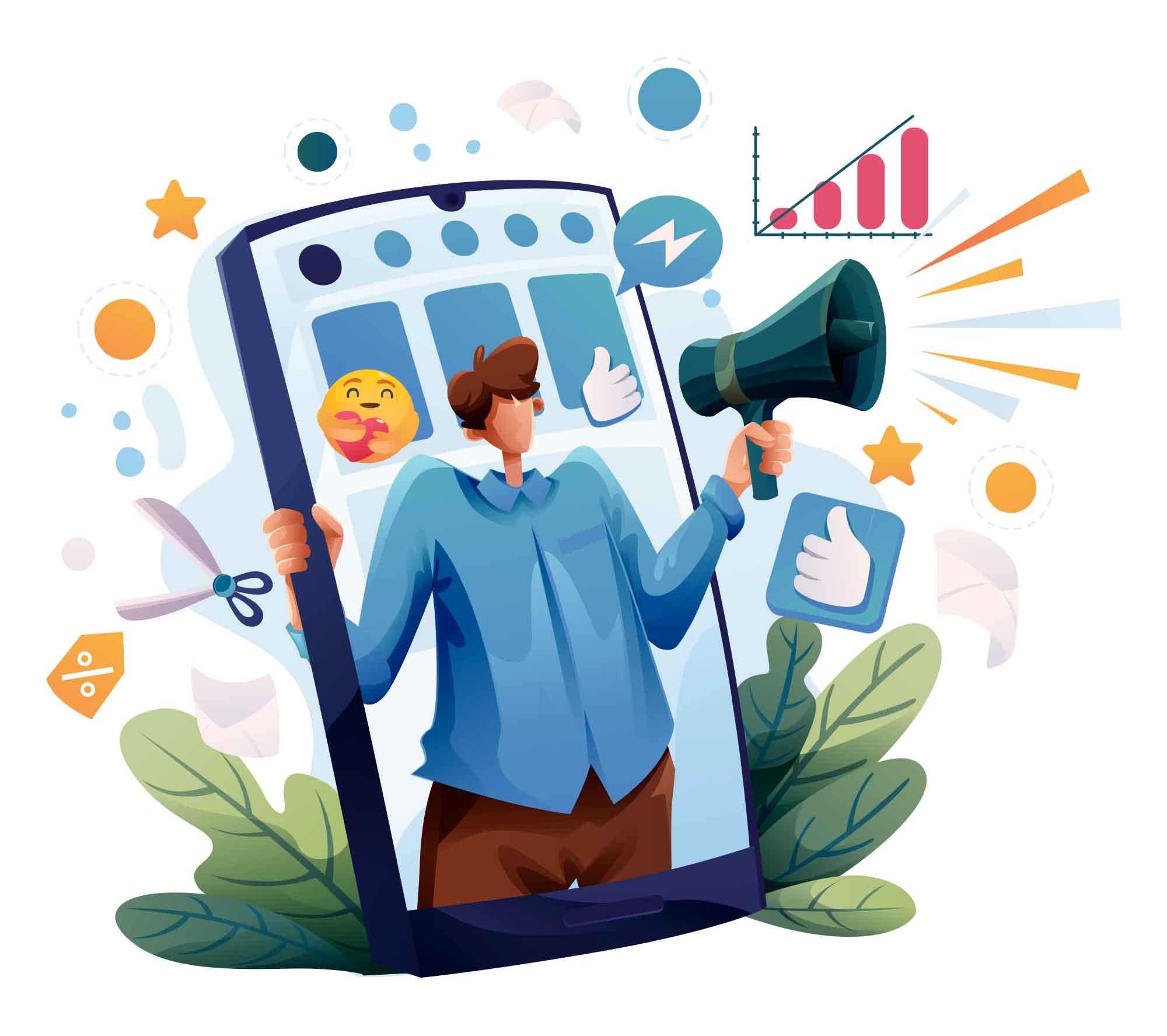 Social Media Vibrant Illustration