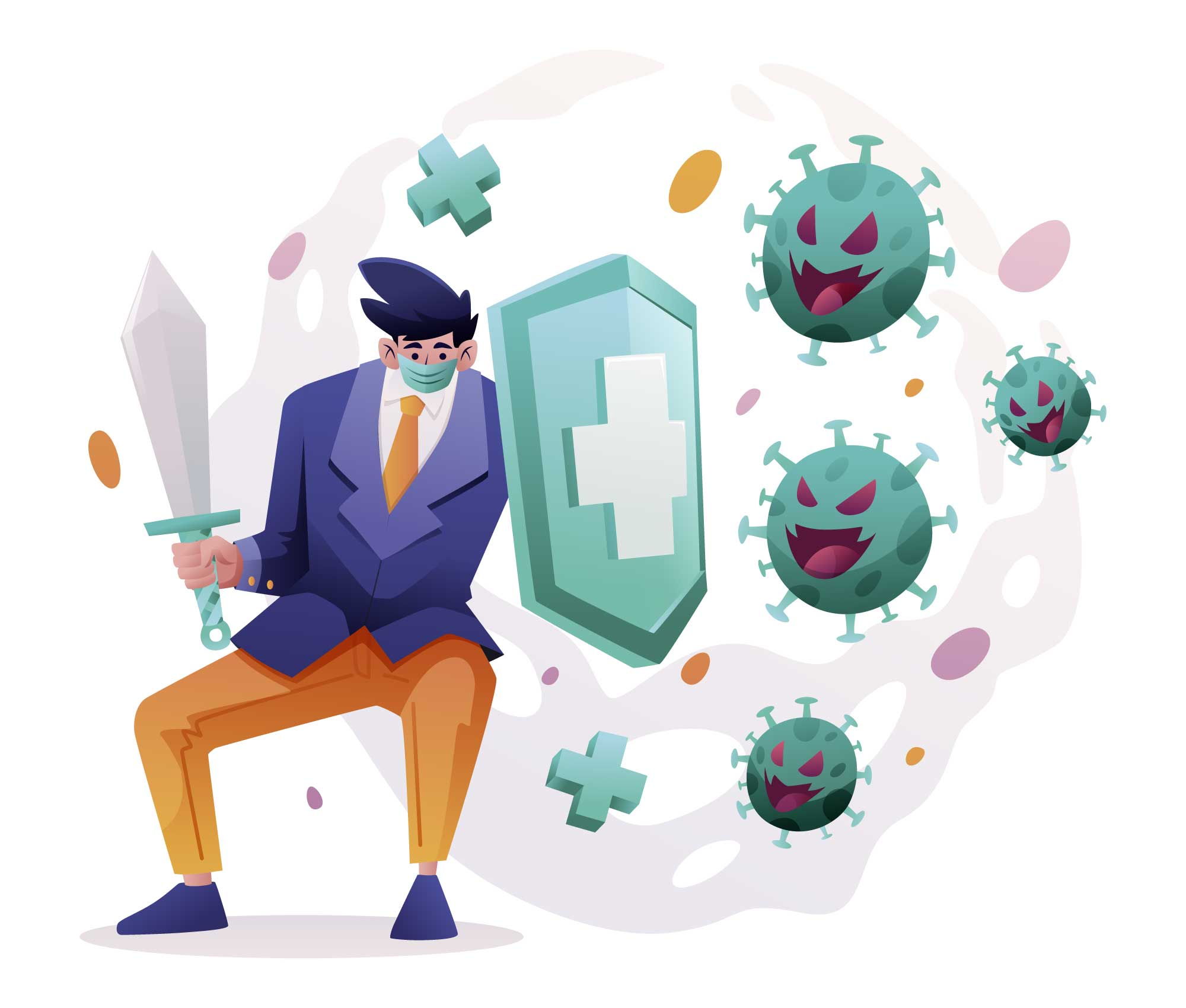 Against Corona Virus Illustration