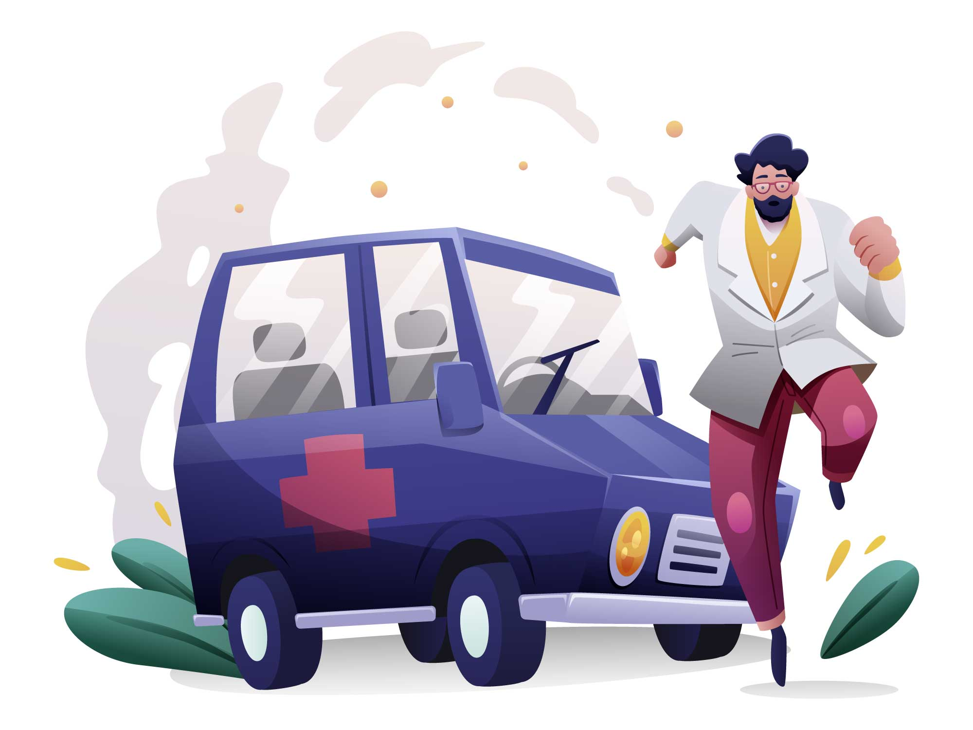 Ambulance Corona Virus Illustration
