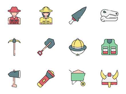 Archaeologist Vector Icons