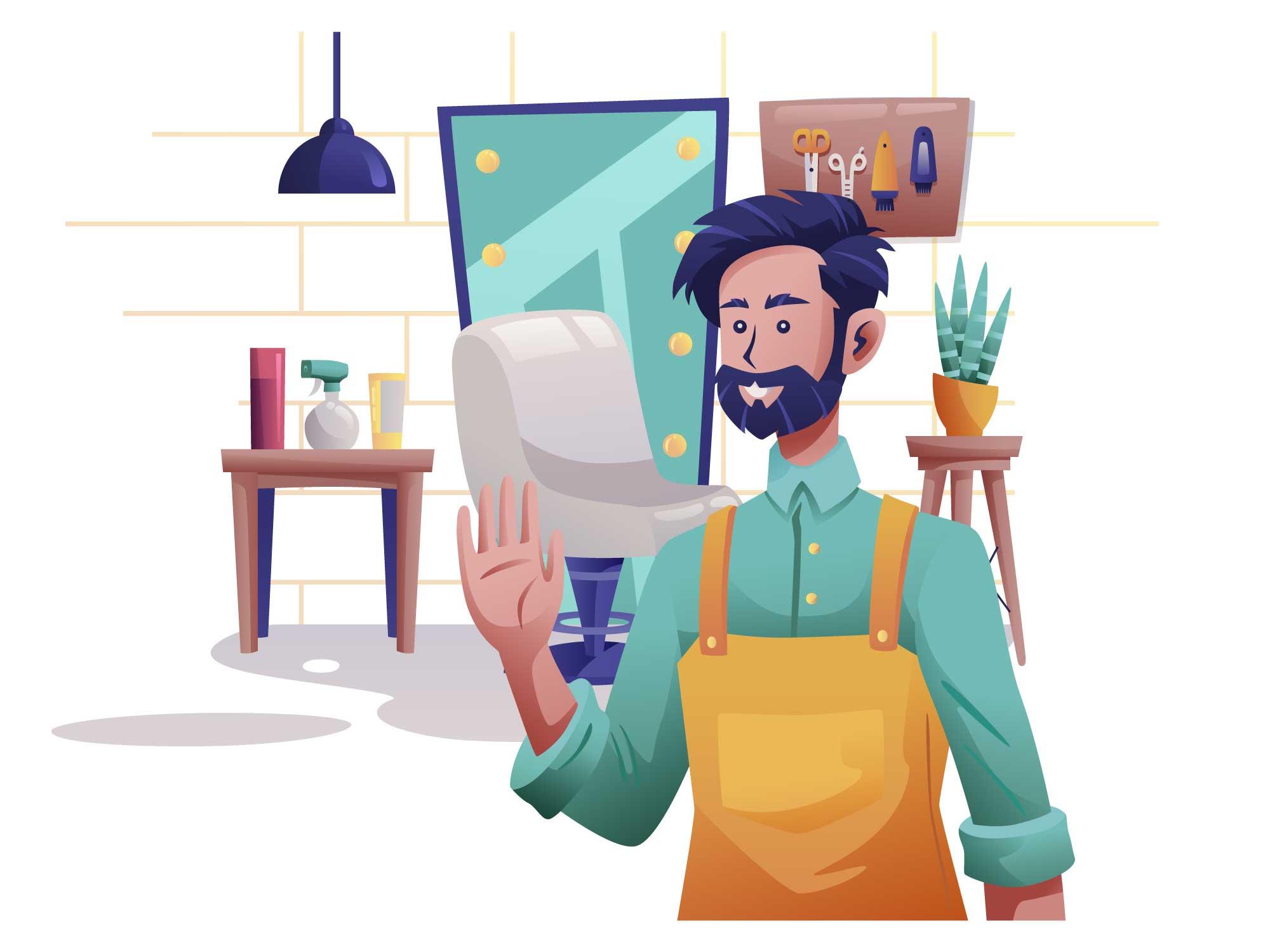 Barber Man Illustration
