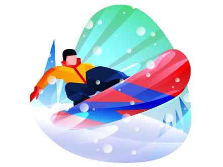 Ice Surfing Illustration