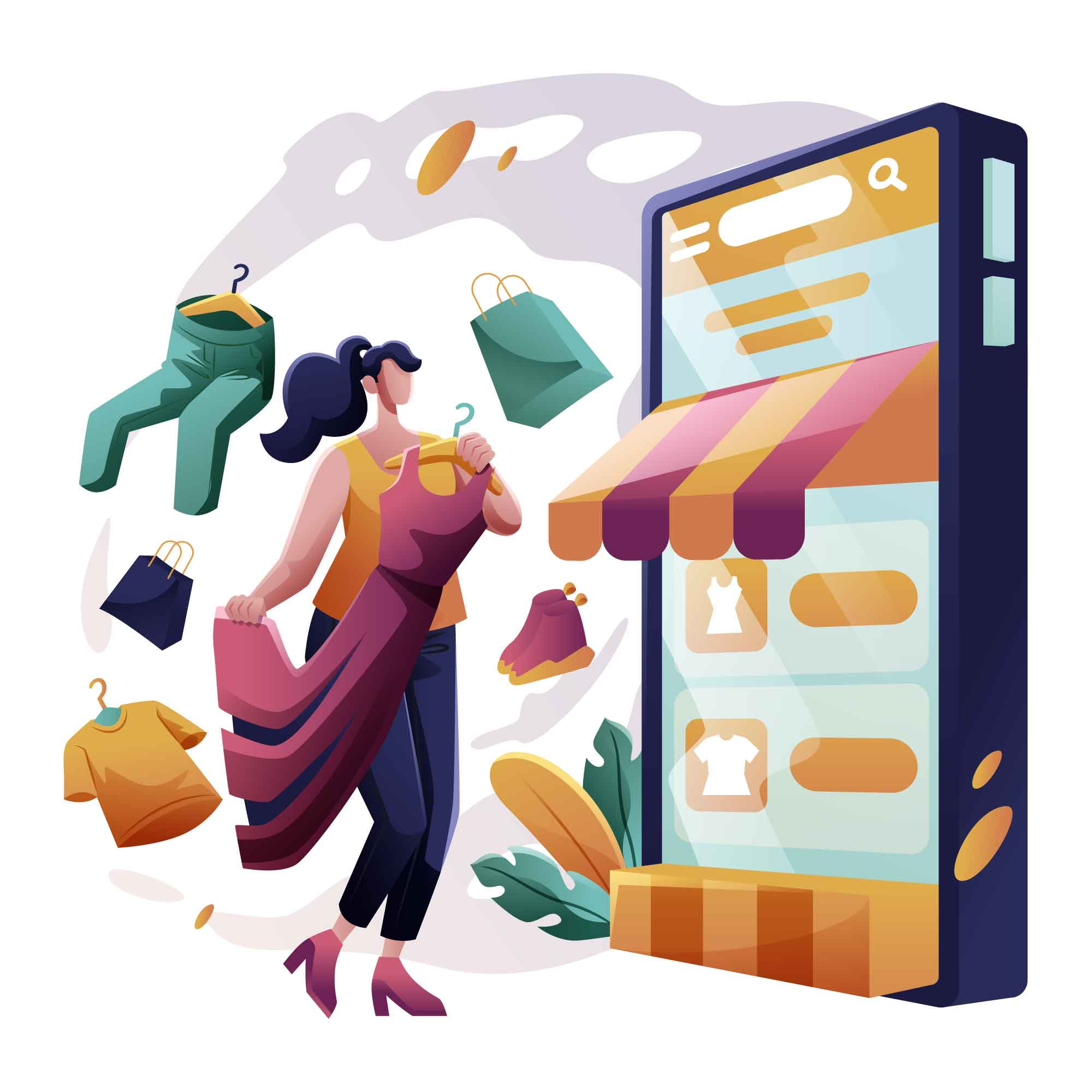 Online Application Shopping Illustration